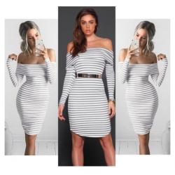Off shoulders striped pencil dress