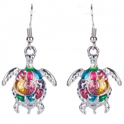 Colorful turtle long earrings