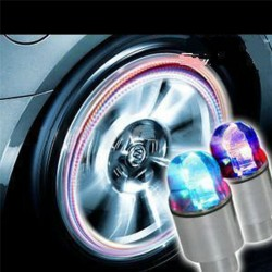 Car bicycle LED neon blue strobe tire valve caps 2 pcs