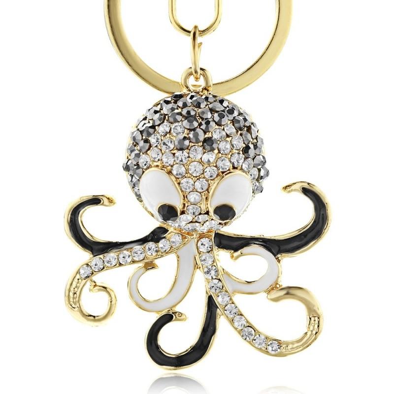 Crystal octopus keychain - keyring