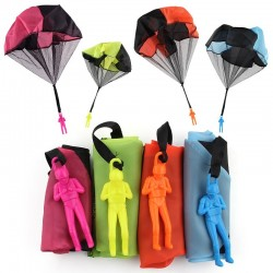 Parachute with soldier figure - hand throwing toy 5 pieces