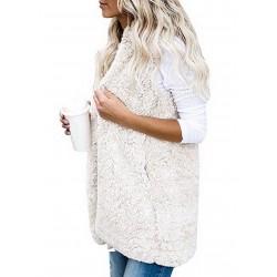 Fur vest hooded body warmer jacket