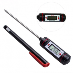 Digital food thermometer - stainless steel - for baking - cooking - meat