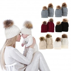 Mom & baby fur tassel hat cotton 2 pcs