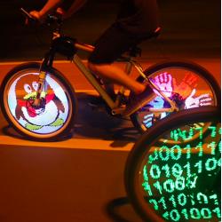 LED programmable bicycle wheel spoke light