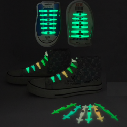 Silicone light up LED luminous shoelaces 12 pcs set