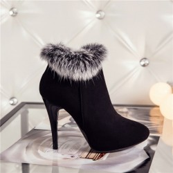 Ankle boots with winter fur and high heel