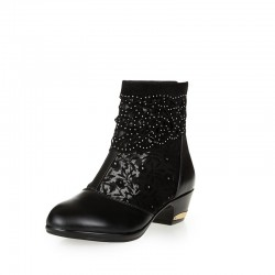 Mesh & lace genuine leather ankle boots