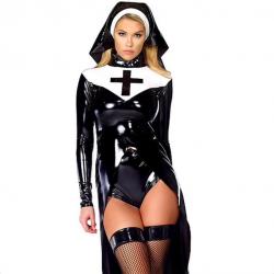 Nun vinyl leather halloween costume