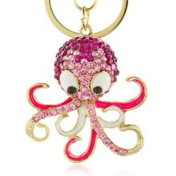 Octopus crystal keychain keyring