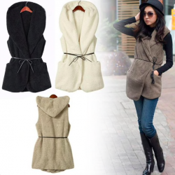 Winter fur hooded vest