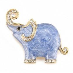 Emaille & kristallen olifant - broche