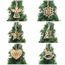 Christmas tree Xmas decoration wooden hollow pendants 6 pcs