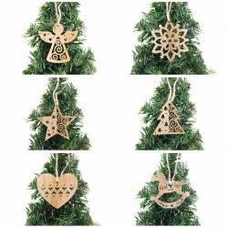 Kerstboom Xmas decoratie houten holle hangers 6 stuks