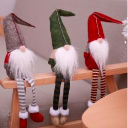 Christmas decoration long-legs sitting elf 50cm