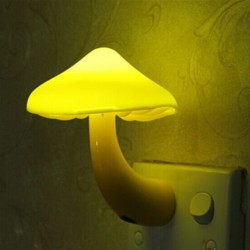 LED Mushroom wall socket lamp night light with sensor