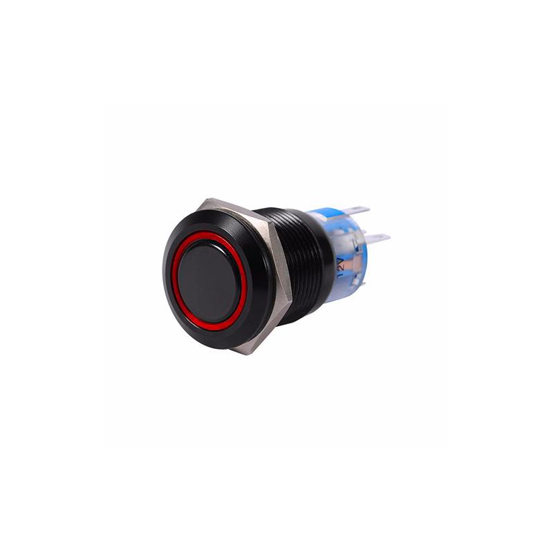 19mm 12V LED car waterproof self-locking latch push button switch