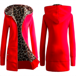 Leopard fleece hooded jacket