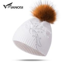 Natural fox fur pompom wool hat