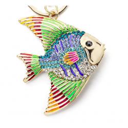 Crystal & enamel fish keyring keychain