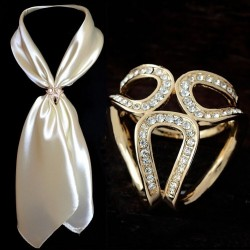 Gold & silver brooch scarf clip