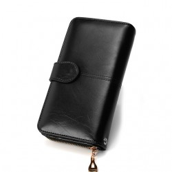 Leather long wallet purse