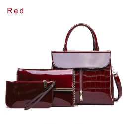 Elegant glossy leather bag set of 3 pieces