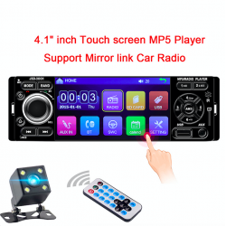 1 din 12V 4.1 inch touch screen USB AUX Bluetooth rear view camera stereo car radio