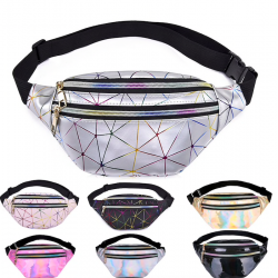 Waist & shoulder holographic belt small bag