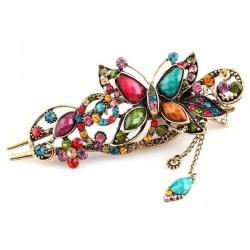 Vintage & Strass Blume - Schmetterling Haarspange
