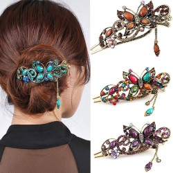 Vintage & strass bloem - vlinder haar clip