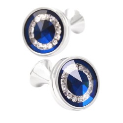 Rhinestones round glass cufflinks