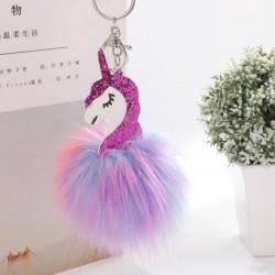Unicorn & furry pom pom keychain - keyring