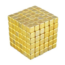 Neodymium square magnet cubes 5mm - gold - 216 pieces