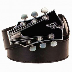 Metal guitar buckle leather belt