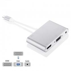 8-pin HDMI-VGA- und 3,5-mm-Audiostecker-Adapter - HDTV-OTG-Konverter für iPhone - iPad