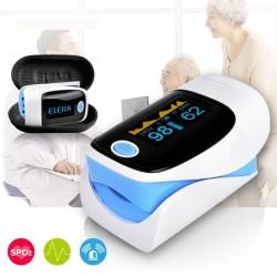 Digital finger pulse oximeter with case