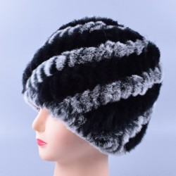 Rabbit fur warm winter hat