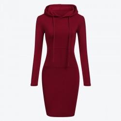 Fleece hooded dress with pockets - long sweater