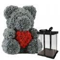 Infinity rose flower teddy bear with heart 40 cm