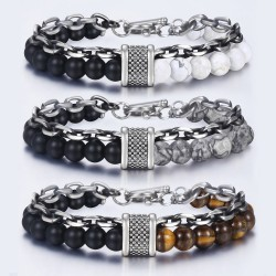 Stainless steel bracelet with natural stone beaded