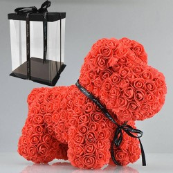 Hond gemaakt van infinity rozen 40 cm