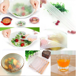 Multifunctional reusable silicone food wrap cover lids 4 pcs