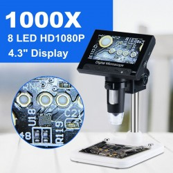 """1000x 2.0MP USB VGA digital electronic microscope - DM4 4.3"""" LCD display - 8 LED stand for PCB motherboard repairing"""