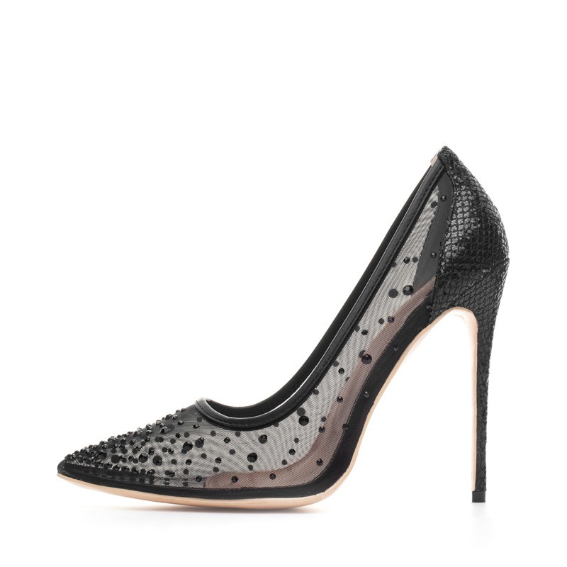 Crystal - air mesh - high heel pumps