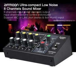 AM-228 mixing console - ultra-compact - low noise - 8 channels audio sound mixer with power adapter