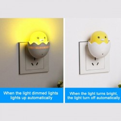 LED wall light - wall socket plug - night light - with control sensor - yellow chicken