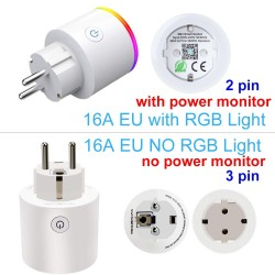 Wifi plug with power monitor - 16A EU RGB - wireless smart socket with voice control for Google Home Alexa