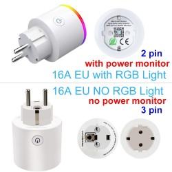 Wifi-stekker met power monitor - 16A EU RGB - draadloze smart socket met spraakbesturing voor Google Home Alexa