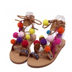 Suede - lace up sandals with pompons